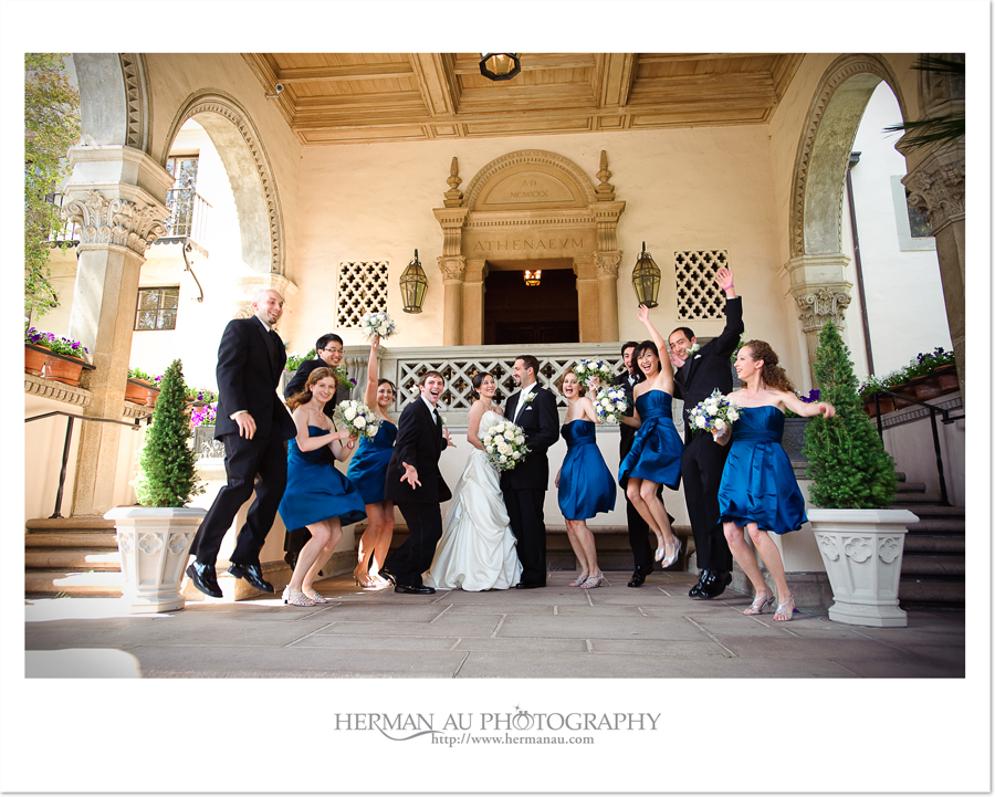 very happy wedding party portrait