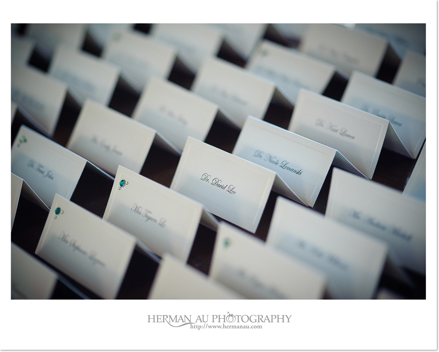 place cards with shallow depth of field