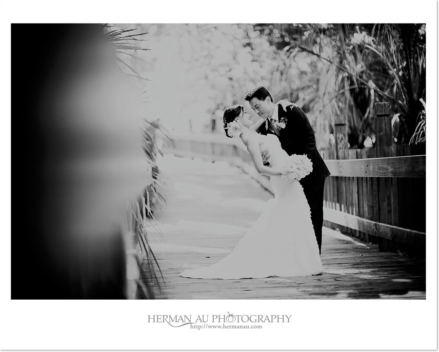 Black and White Bridal Portrait at the wooden bridge in Balboa Park, San Diego