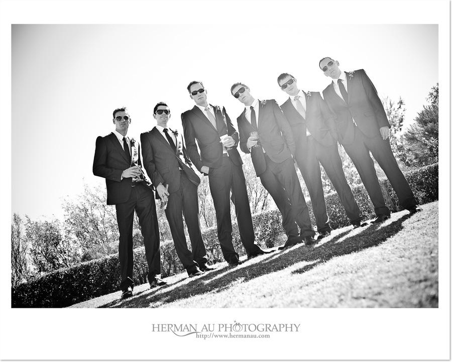 modern GQ look groom and groomsmen portrait