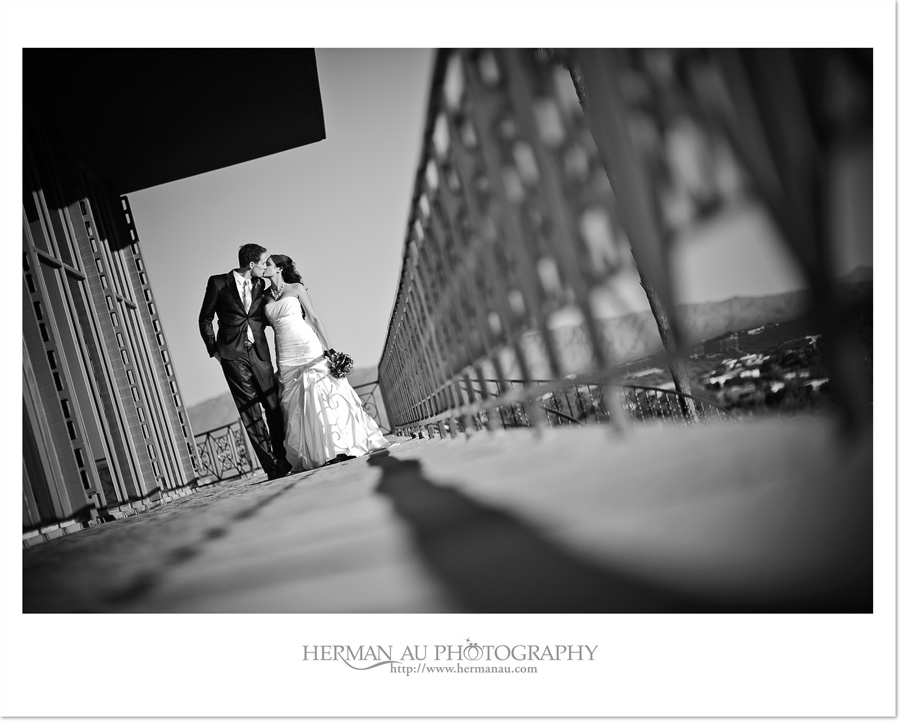 bride and groom kissing artistic photo