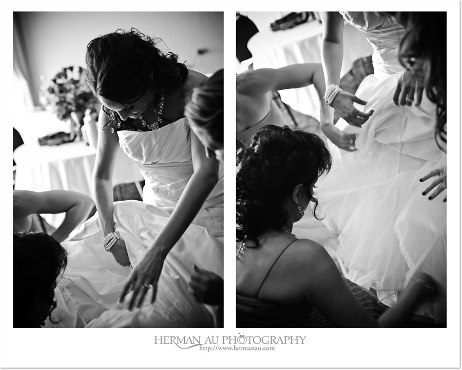 bride putting on wedding gown photojournalism approach