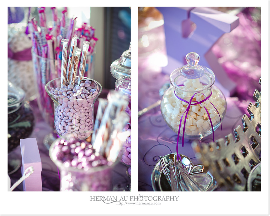 purple candy table details