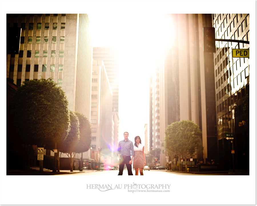 downton los angeles business district engagement session