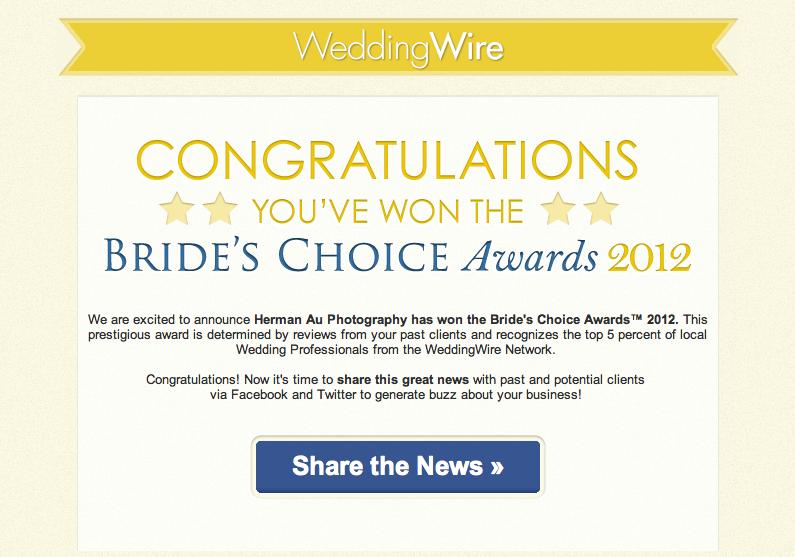 Los Angeles Bride's Choice Award winner 2011 Herman Au Photography