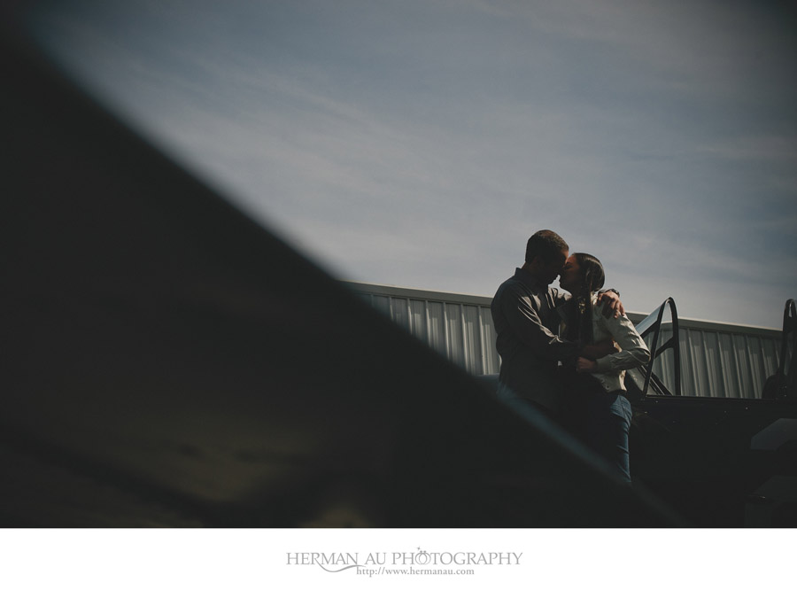 engagement session with a world war ii plane