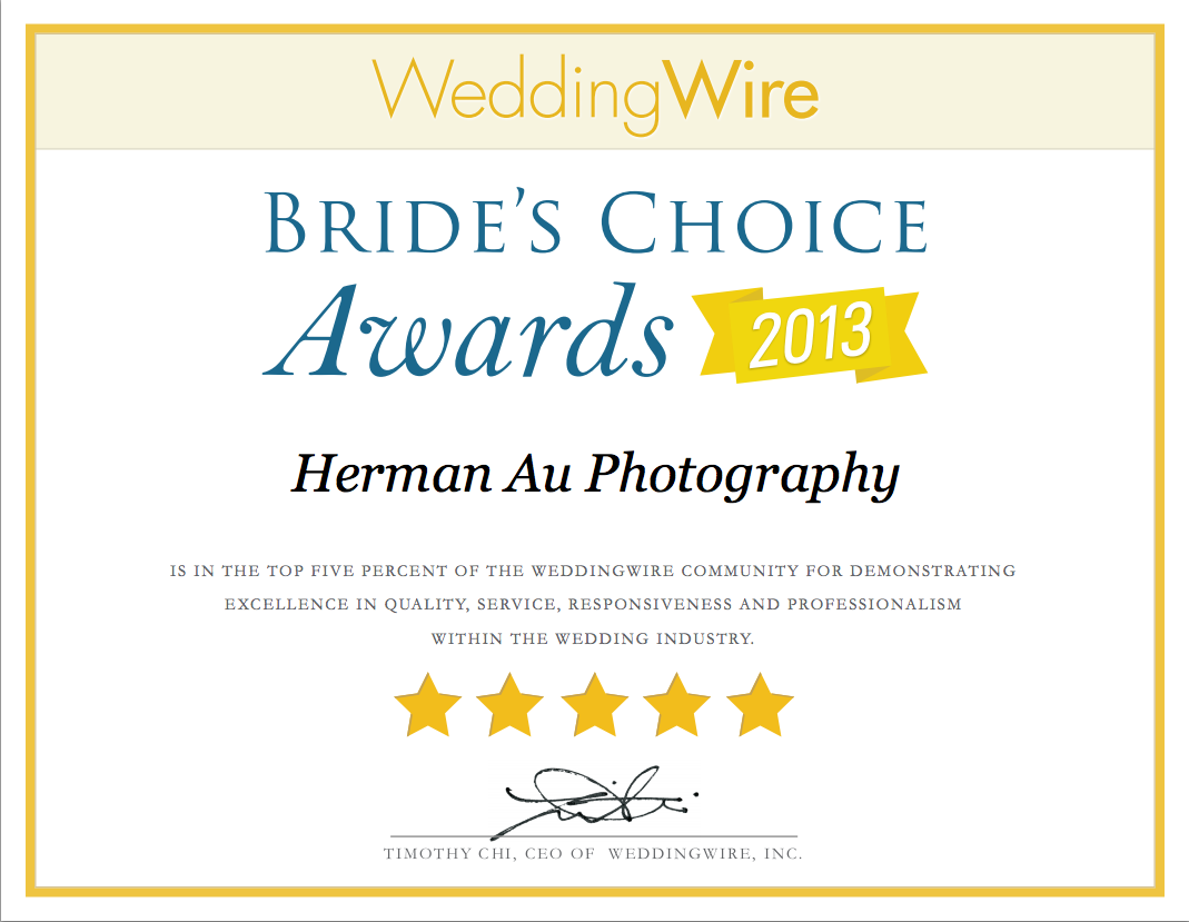 Herman Au Photography Bride's Choice Award 2013