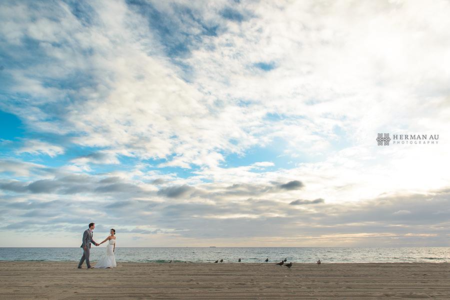 Malibu Beach side sunset wedding portrait
