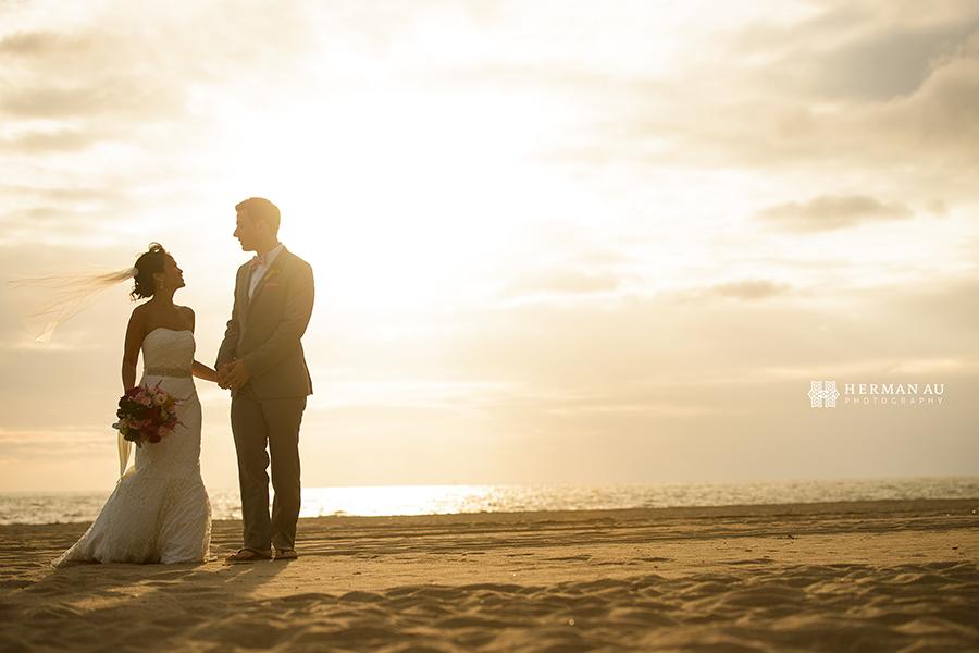Malibu Beach side wedding portrait 3