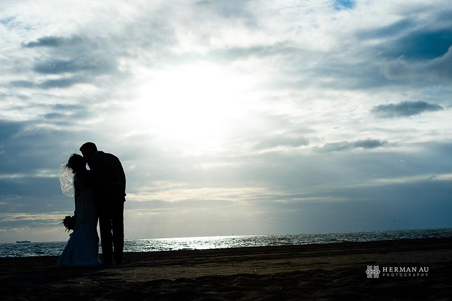 Malibu Beach side wedding silhouette portrait 1