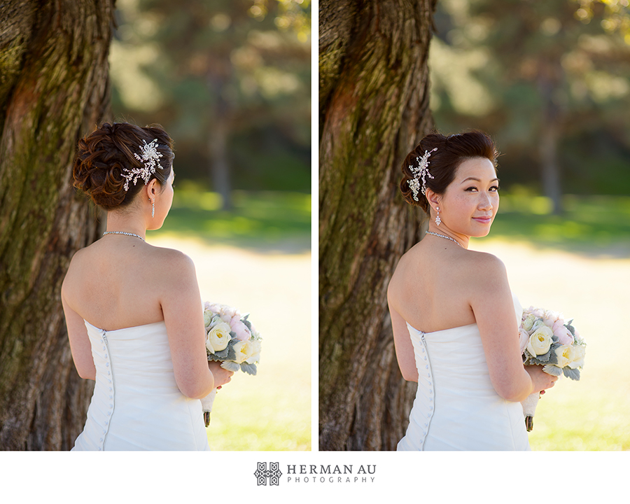 Michelle & William California Country Club bridal hair and makeup close up