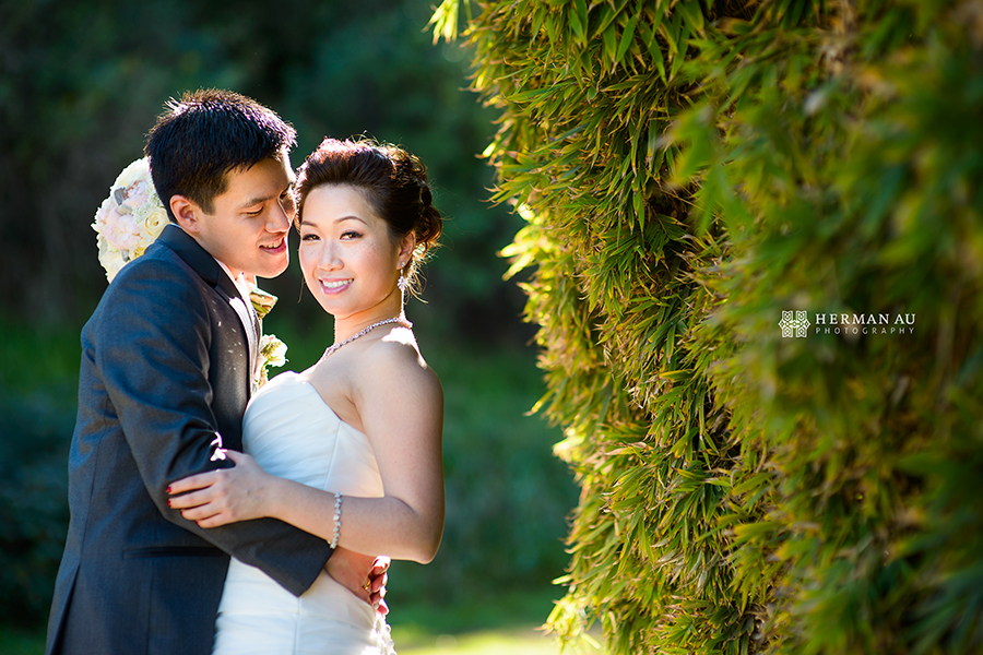 Michelle & William California Country Club bridal portrait bamboo background 2