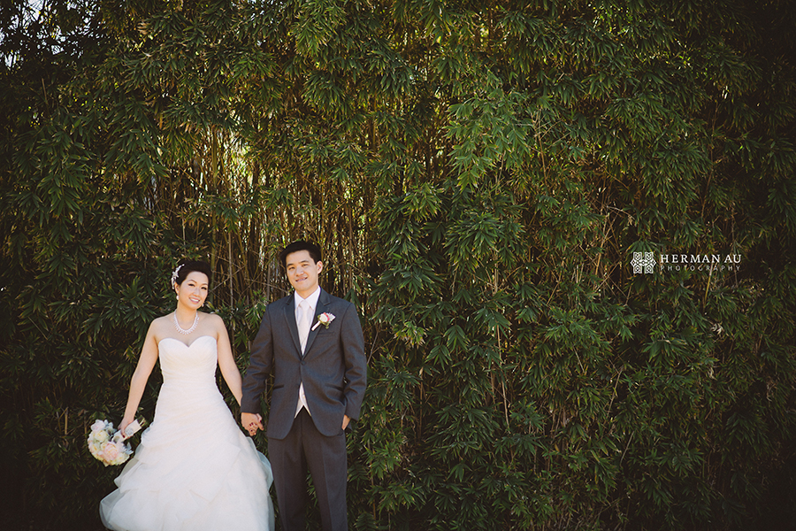 Michelle & William California Country Club bridal portrait bamboo background