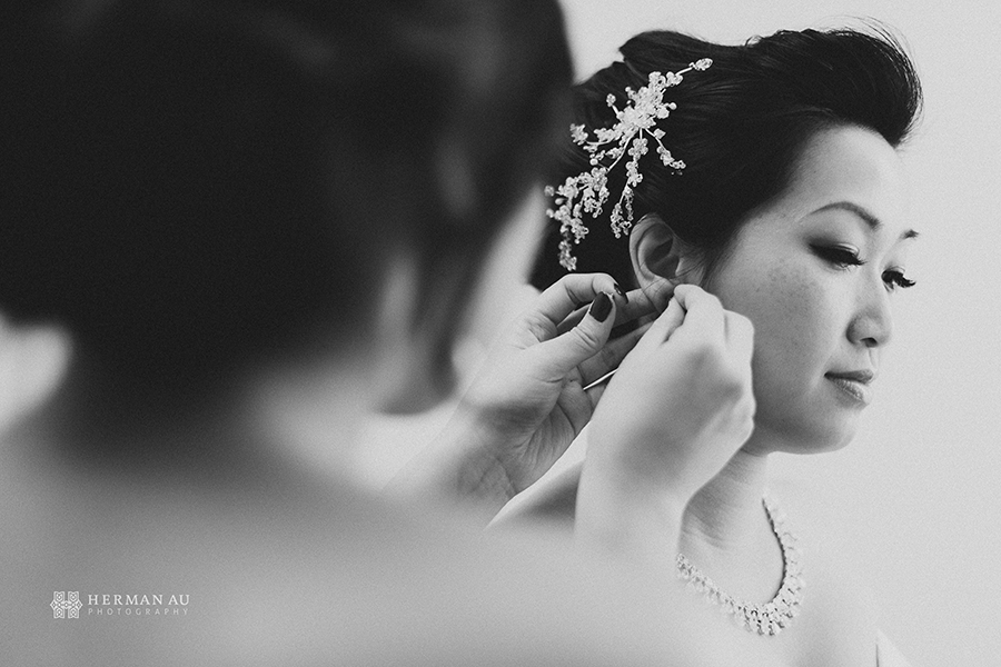 Michelle & William California Country Club bridal preparation close up 1