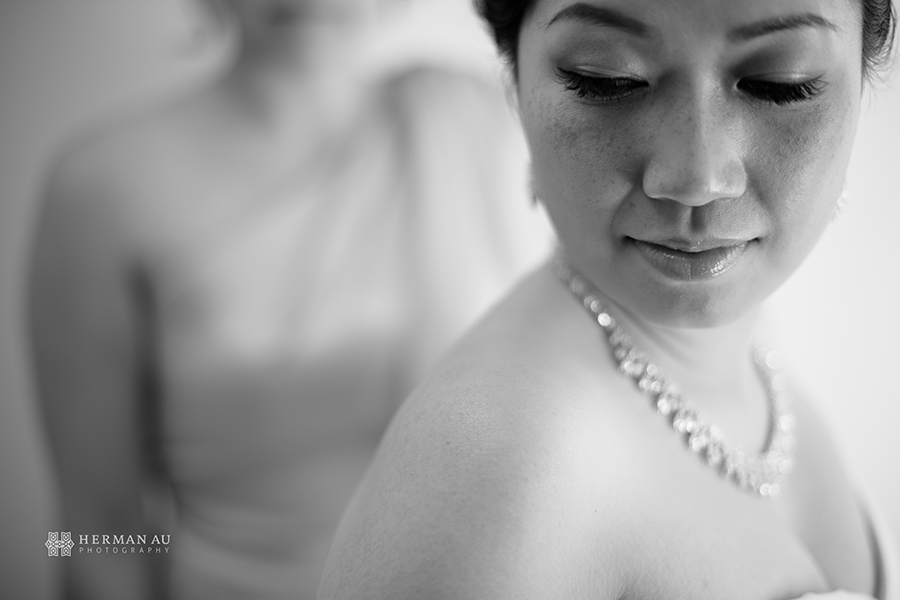 Michelle & William California Country Club bridal preparation close up 2