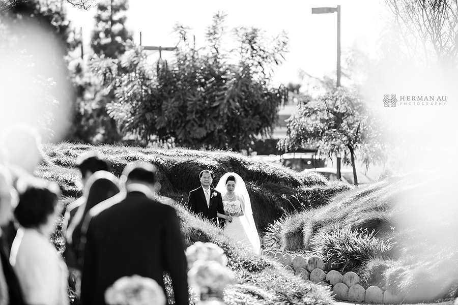 Michelle & William California Country Club bride walking down aisle