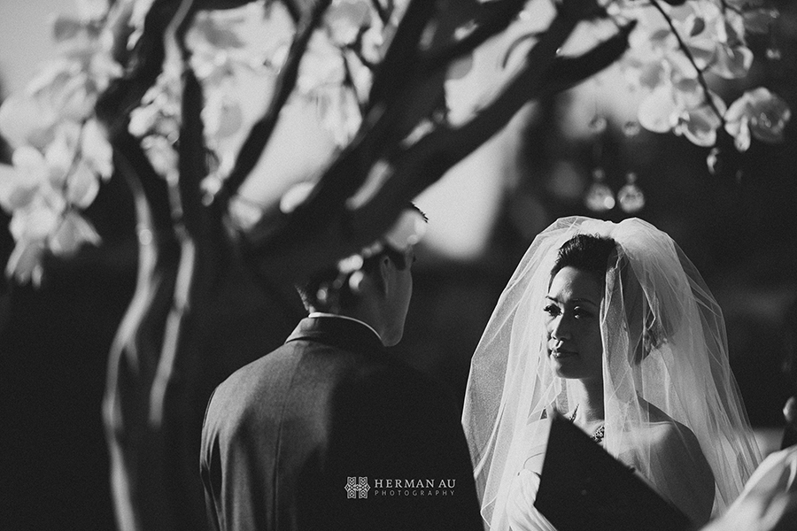 Michelle & William California Country Club wedding ceremony closeup emotions black and white