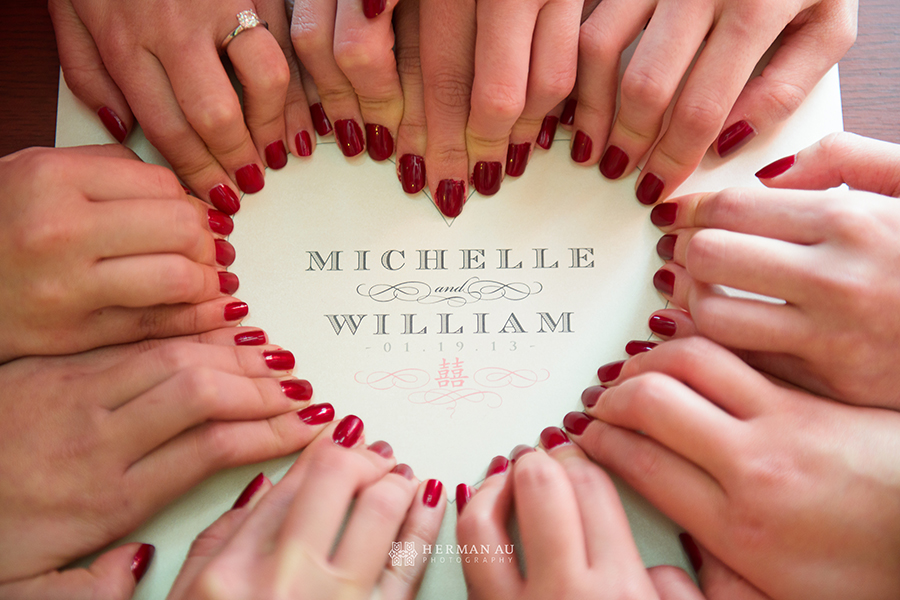 bride and bridesmaids nails form heart shape