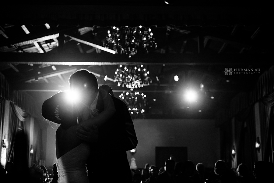 23.Padua Hills Theatre wedding stage light silhouette first dance