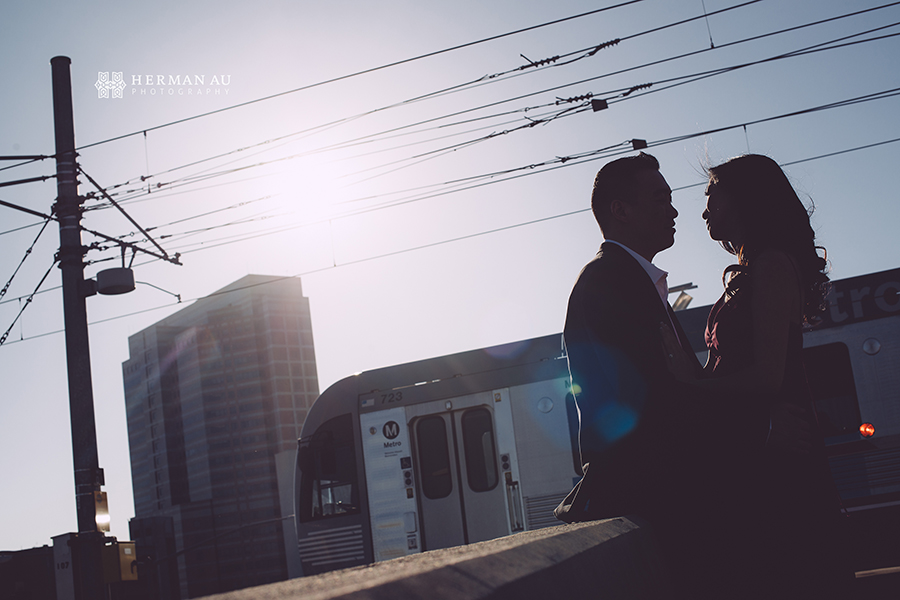 los angeles union station engagement train silhouette