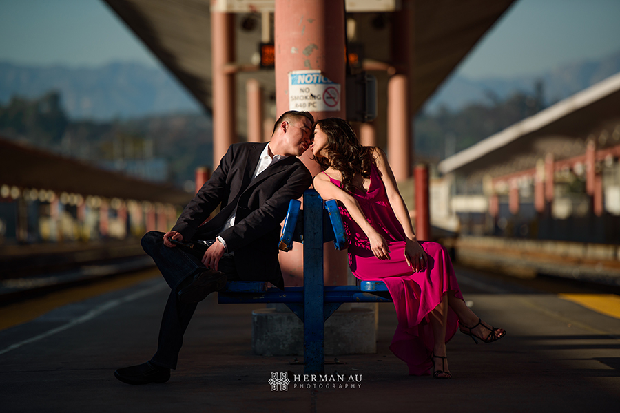 los angeles union station engagement vintage romantic