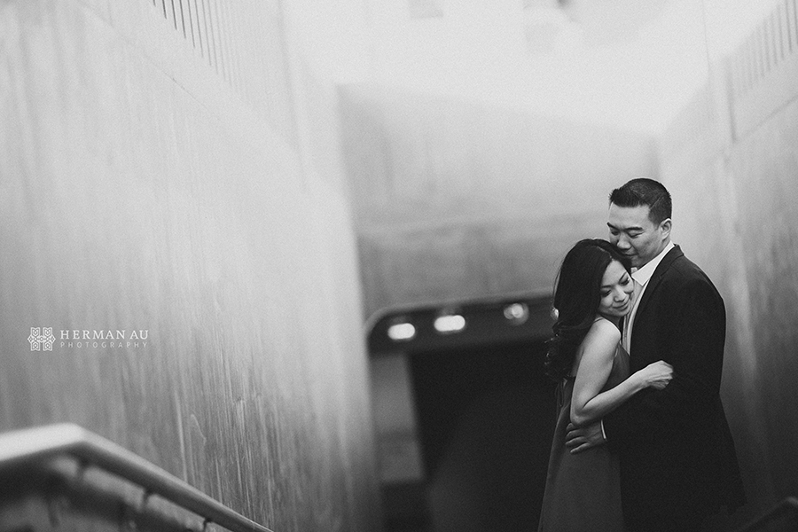 los angeles union station engagement romantic vintage black and white