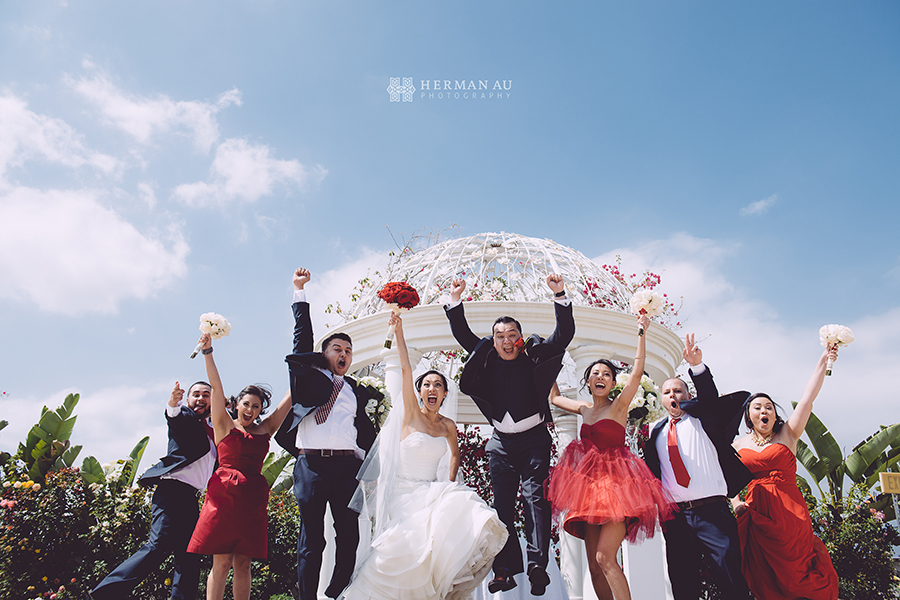 24.Wedding Bridal Party jump happy shot