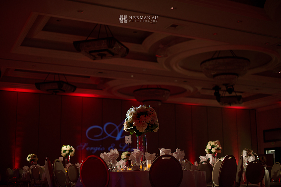 30.San Gabriel Hilton Ballroom red lighting wedding reception
