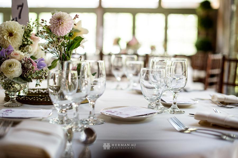 1 Sweetheart Table Setting Calamigos Ranch Malibu CA