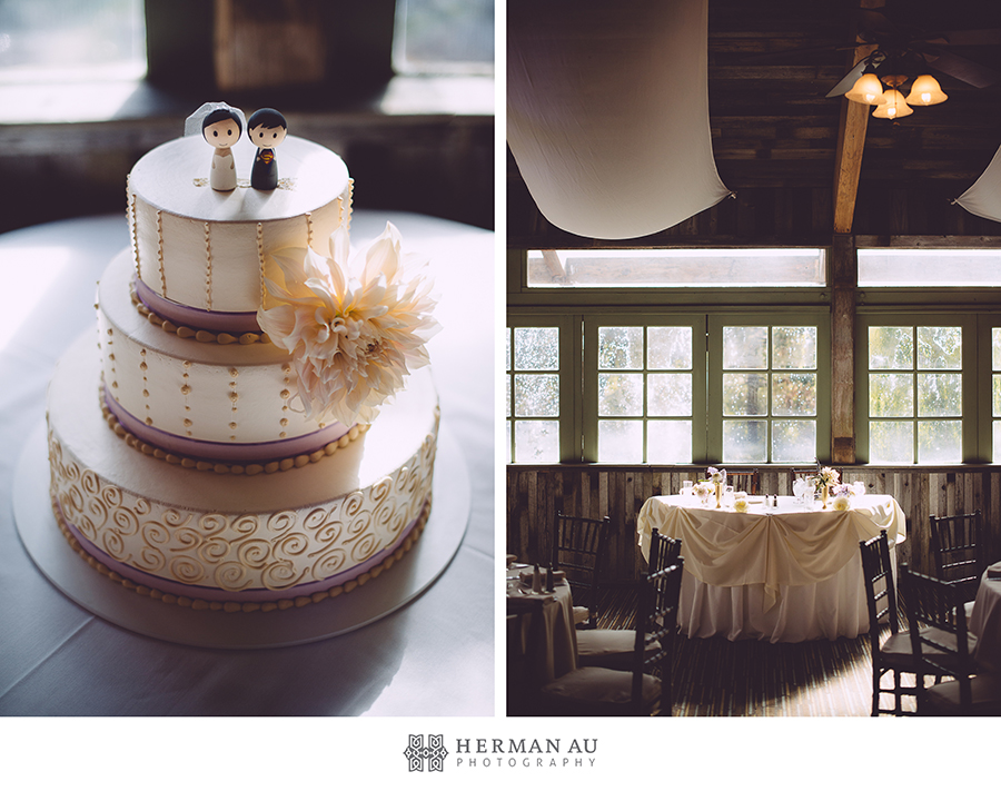 wedding cake by Portos bakery with cute doll cake toppers shot at Calamigos Ranch in Malibu