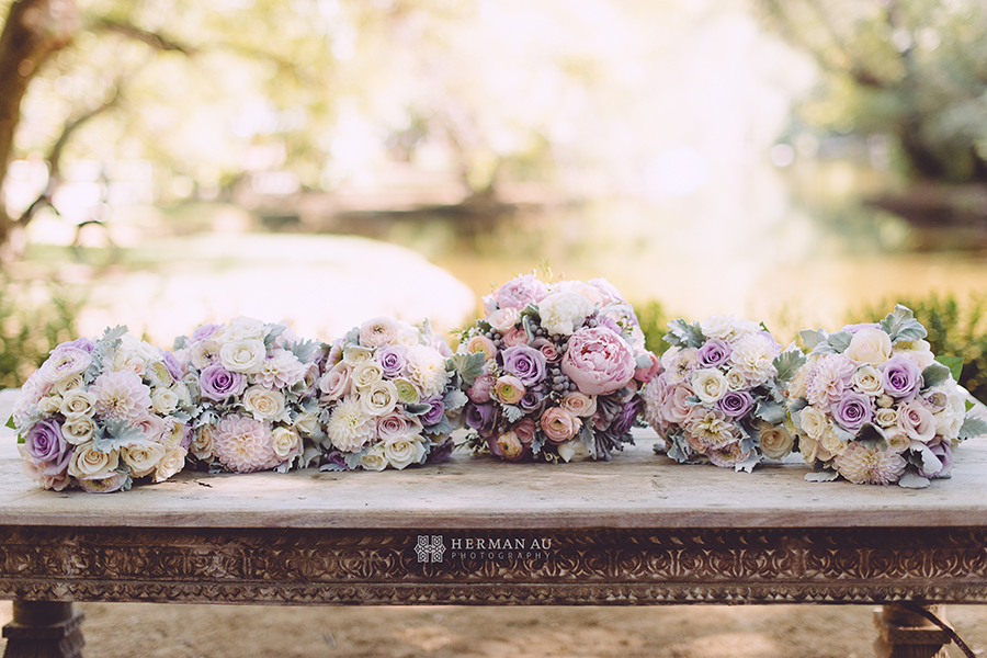 6 Bridal Bouquets lined up