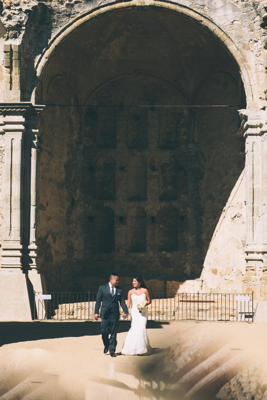 San Juan Capistrano Mission wedding portrait